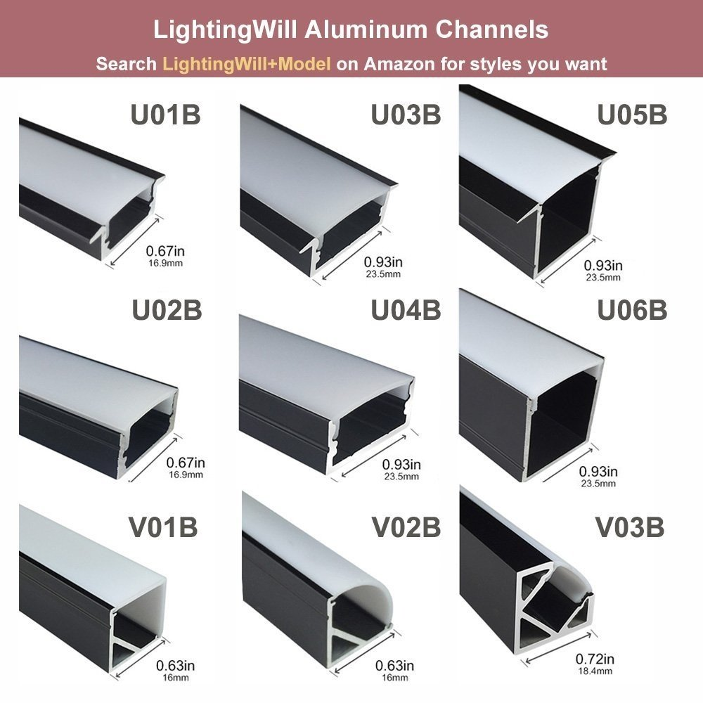 LightingWill 5-Pack 3.3ft/1M 9x23mm Black U-Shape Internal Width 12mm LED Aluminum Channel System with Cover, End Caps and Mounting Clips Aluminum Extrusion for LED Strip Light Installations-U01B5 by LightingWill (Image #8)