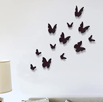 Great Wall Stickers Black 3D Butterfly Wall Art Murals Removable Self Adhesive  Decals Nursery Kindergarden Kids Part 10