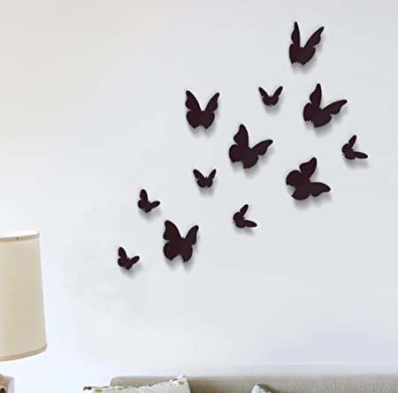 Wall Stickers Black 3D Butterfly Wall Art Murals Removable Self Adhesive  Decals Nursery Kindergarden Kids
