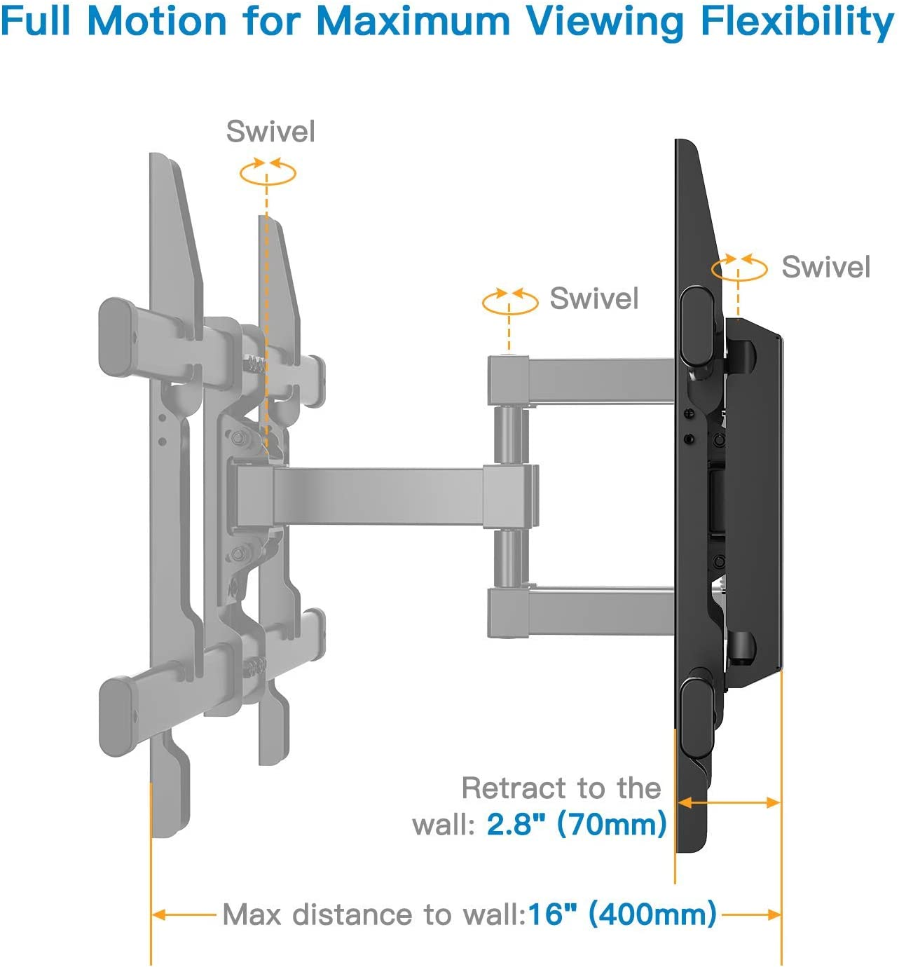 Perlesmith TV Wall Mount Bracket Full Motion Dual Articulating Arm for 37-70 Inch LED, LCD, OLED, Flat Screen, Plasma TVs up to 132lbs VESA 600 × 400 with Tilt, Swivel and Rotation - PSLFK1 (Renewed)