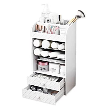 Beau Baffect White Makeup Organiser Jewellery Beauty Storage Box Cosmetic  Holders Accessories With 2 Make Up Drawers