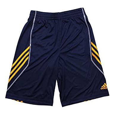 Adidas Big Boys Basics Shorts (Large 14/16, Navy/Orange)
