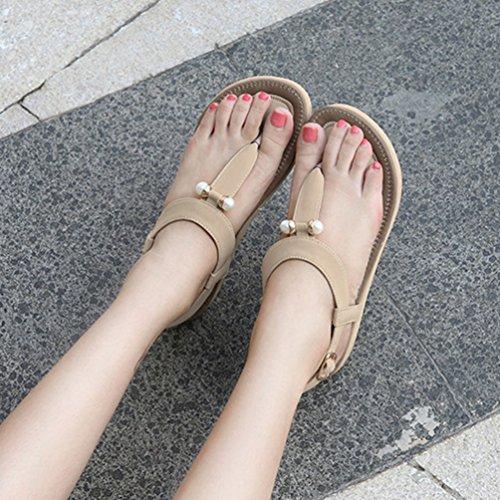 Sandali Donna Infradito da 4 Spiaggia t a Toe Perline Albicocca Scarpe JEELINBORE Cinturino Bohemia Elegante Clip Metallo twpwqP