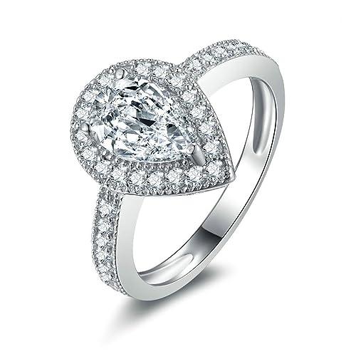Daesar Joyería Anillos de Compromiso de Plata S925 Mujer, Alianzas Banda Sello con Marquesa Diamantes