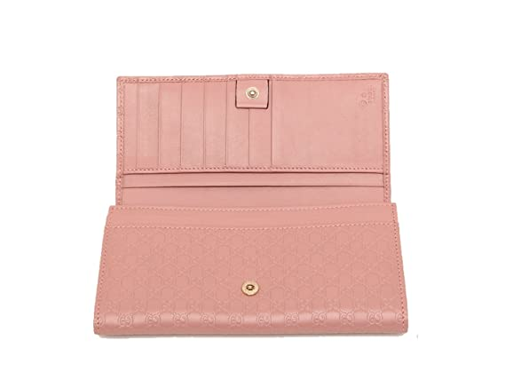 8433f2776fcb25 Gucci Women's Signature GG Micro Guccissima Continental Flap Long Bifold  Leather Wallet - Soft Pink 449396 BMJ1G 5806: Amazon.co.uk: Luggage