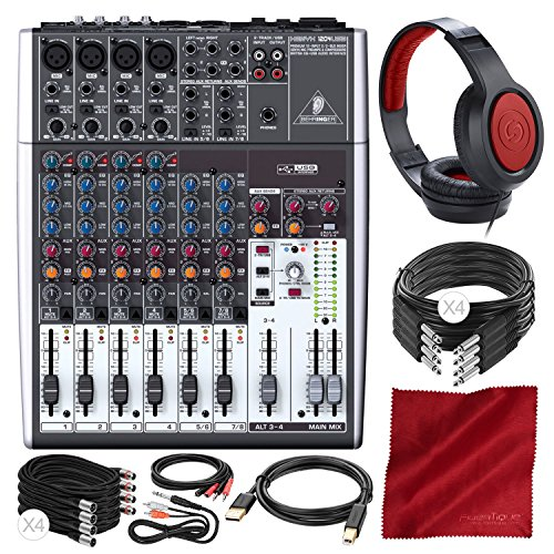 (Behringer XENYX 1204USB 12-Input USB Audio Mixer with Samson Headphones and Assorted Cables Deluxe Bundle)