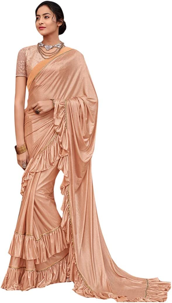 Ruffle Border Designer Evening Cocktail wear Saree with Blouse piece Women Party wear Sari 7902
