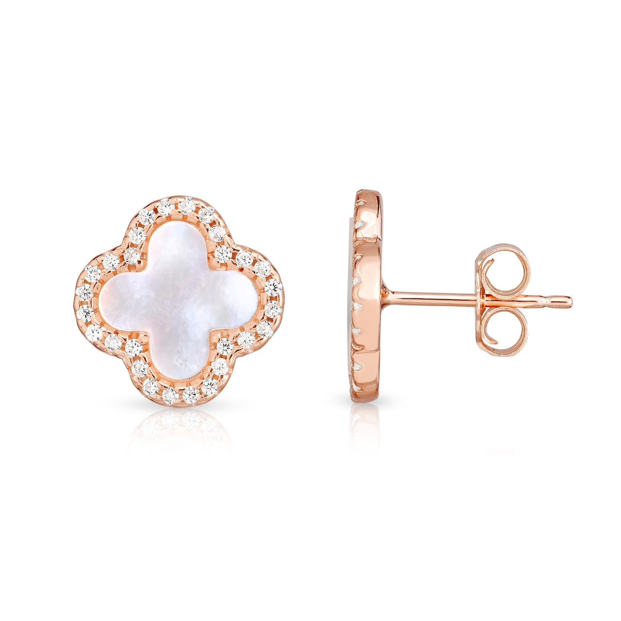 646c3d460 Amazon.com: Sterling Silver Mother Of Pearl And Cubic Zirconia Four Leaf  Clover Post Earrings. (14K Rose Gold Plated): Jewelry