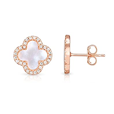 2bbd02fa3 Amazon.com: Sterling Silver Mother Of Pearl And Cubic Zirconia Four Leaf  Clover Post Earrings. (14K Rose Gold Plated): Jewelry
