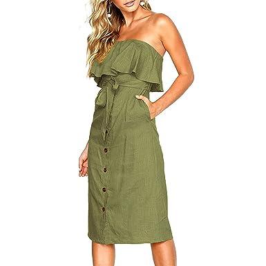 Lananas 2018 Women Summer Off Shoulder Ruffle Button Down Swing Midi Army Green Dress