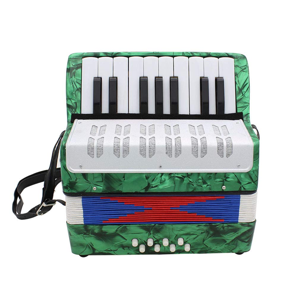 OUYAWEI 17 Key Professional Mini Accordion Educational Musical Instrument for Both Kids Adult Green