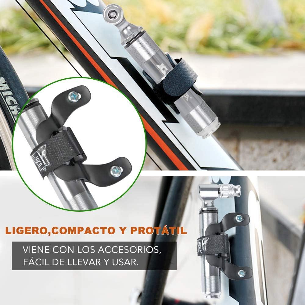 Mini Bomba para Bicicleta portátil hanmir Bomba de Aire, con Válvulas Presta y Schrader, con 160 PSI, Ideal para Carretera, Montaña, BMX, Cyclocross y Bicicletas Híbridas etc.: Amazon.es: Deportes y aire libre