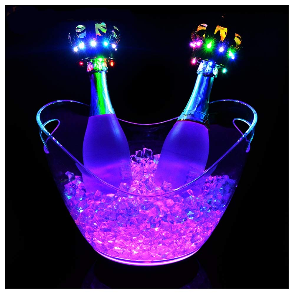 DAWNBOYE 8L Clear Wine Or Champagne Bottles Ice Bucket,Bar Tools,Wine Accessories Colour Changing LED Ice Bucket,Colour Changing Ice Bucket,Beer Barrel,Charging,Ingot Ice Bucket by DAWNBOYE