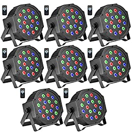 DJ Lights, BSYUN 18 LEDs RGB Sound-Activated Stage Lights with Remote DMX-512 Controllable for Wedding Party (8P)