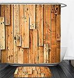 Nalahome Bath Suit: Showercurtain Bathrug Bathtowel Handtowel Wooden Lodge Style Teak Hardwood Planks Image Print Farmhouse Vintage Grunge Design Artsy Amber