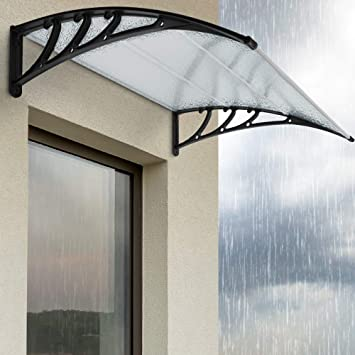 Vordach Haust/ür Terrassent/ür /Überdachung Haust/ürdach Pultvordach Transparent Alu Kunststoff 150 x 100 cm V2Aox