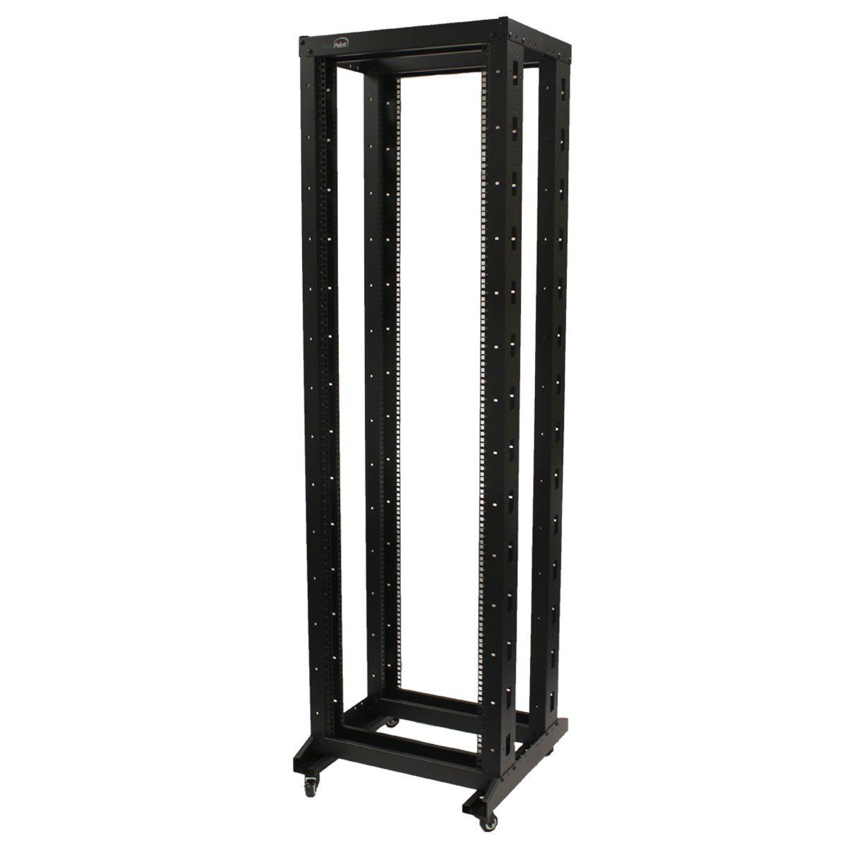 NavePoint 7ft Open Frame 19 Inch 42U 4-Post Network Server Relay Rack Rolling with Casters