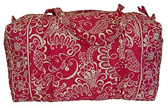 Vera Bradley Large Duffle in Twirly Birds Pink