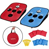 G4Free Portable Collapsible 5 Holes Cornhole Game Set with 8 Bean Bags Carrying Case Toss Game Size 3ft x 2ft for Camping Tra