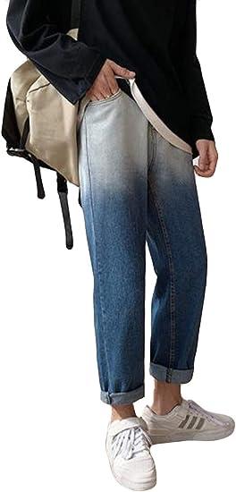 Ellteメンズ ジーンズ グラデーション ゆったり パンツ ストレッチパンツ メンズ ゴム付き 夏 プルオーバー ファッション 九分着 運動 登山パンツ
