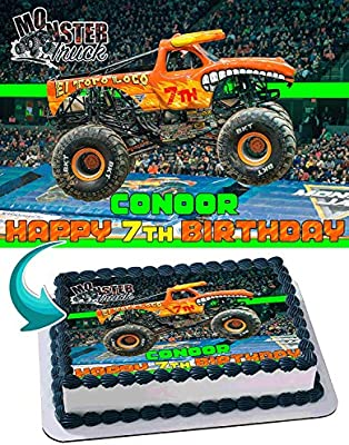 El Toro Loco Monster Truck Edible Image Cake Topper Party Personalized 1 4 Sheet Amazon Com Grocery Gourmet Food