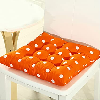 Hinmay Prime Squar Chair Cushions Polka Dot Sanding Seat Cushion,Square Cotton Buttocks Chair Pads,Flexible Nine-Pin Soft Seat Cushion Indoor Home Garden Patio Home Cushion Kitchen(41cm X 41cm,Orange)