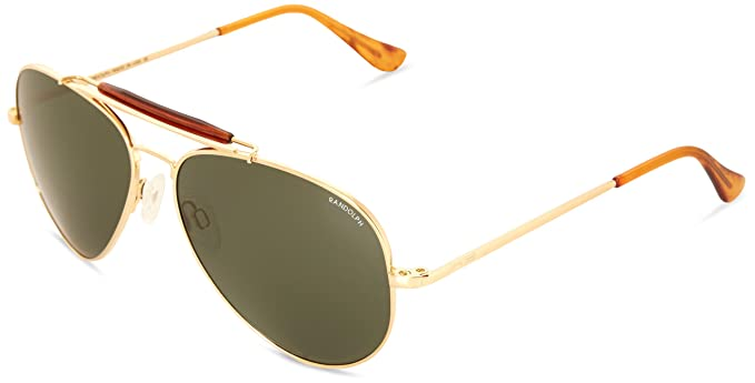 ba34fa7d74 Randolph Engineering Sportsman 23K Gold Plated Sunglasses - AGX Green Skull  57MM  Amazon.co.uk  Clothing