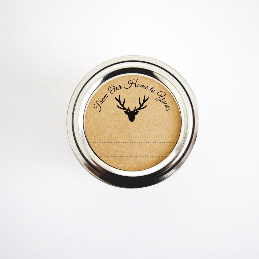 Rustic Woodland Deer Round Stickers by Once Upon Supplies, From Our Home to Yours Gift Labels, 2'' Size Fits Regular Mouth Mason Jars, 40 Stickers