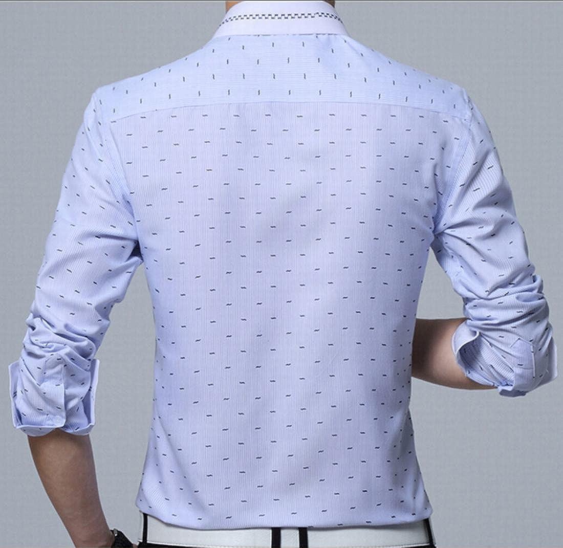 Keaac Mens Long Sleeve Printed No-Iron Slim Fit Dress Shirt