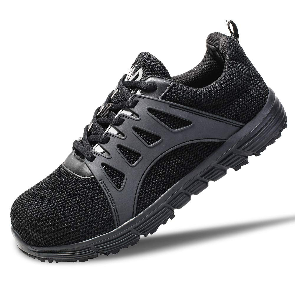 Walkchic Work Steel Toe Shoes Men's Lightweight Breathable(10,Black)