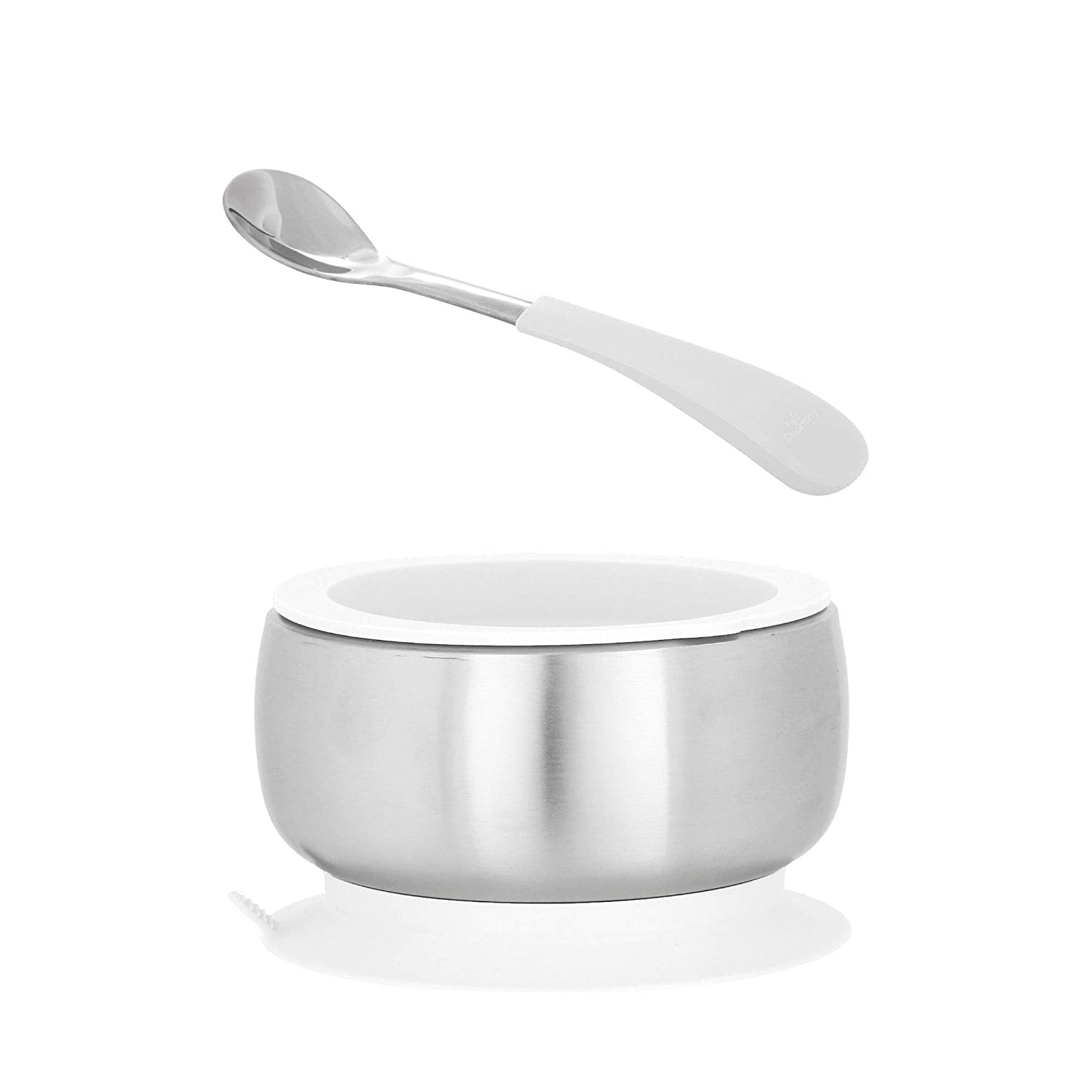 Avanchy Baby Toddler Feeding   Stainless Steel Stay Put Bowl Suction + Soft Silicone Handle Spoon + Lid Set   BPA Free   Great Infant Gift Pack (Infant, White)
