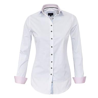 7bfe9f327437 HEVENTON Bluse Damen Langarm in Weiß von Hemdbluse - Größe 34 bis 50 -  elegant und hochwertig  Amazon.de  Bekleidung