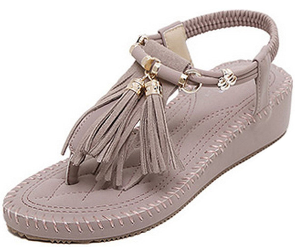 WAROFT Women's Adjustable Strap Fringe Heel Wedge Sandal Flip Flop Summer Beach Shoes B07CTLM9WH 4 B(M) US|Purple