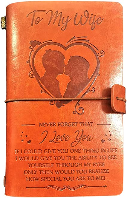 To My Wife Leather Journal Gifts Never Forget That I Love You 120 Page Notebook Travel Journal Diary Birthday Wedding Anniversary Gift For Wife Amazon Co Uk Office Products