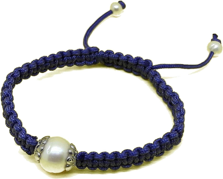 El Coral Pulsera Perla Blanca 12mm con Hilo Azul, Regulable
