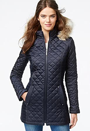 Laundry By Design Faux Fur Trim Hooded Quilted Jacket Small At