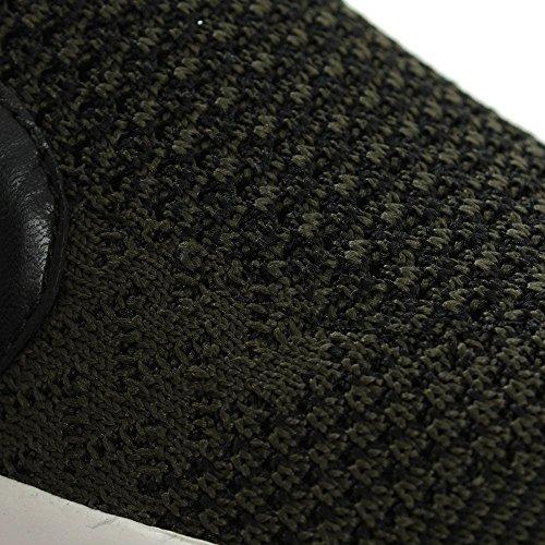 Grüne Stricken Jeday Slip-on Plattform Trainer Green Fabric