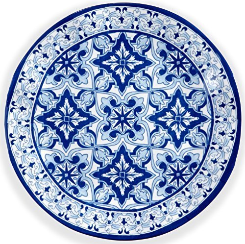 Q Squared Talavera in Azul BPA-Free Melamine Dinner Plate, 10-1/2 Inches, Set of 4, Blue and White
