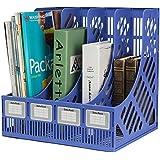 Cartshopper Plastic Magazine Book Paper Document Folder Tray Desktop Letter File Holder Caddy Sorter and Organiser with 4-Compartment Slots (Blue)