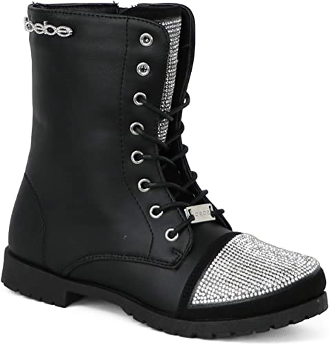 Fashion New Pretty Military Combat Lace Up Girls Kids Ankle Boots Youth Shoes