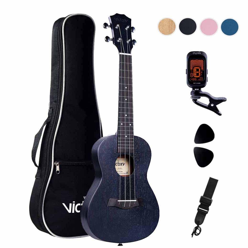 CYC Music Concert Ukulele Caoba 23 inch Aquila Cuerdas Principiante Kit : (5 en 1) Bag + Correas + Sintonizador + Selecciones ( Negro ) product image
