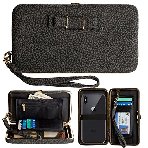 Phone Clutch Wallet, TraderPlus Multi-purpose Long Style Leather Clutch Handbag Bow-Knot Purse Cellphone Case for iPhone 7/ 7Plus/ 6s/ 6s Plus/ Galaxy S8/ S7/ S7 edge Black