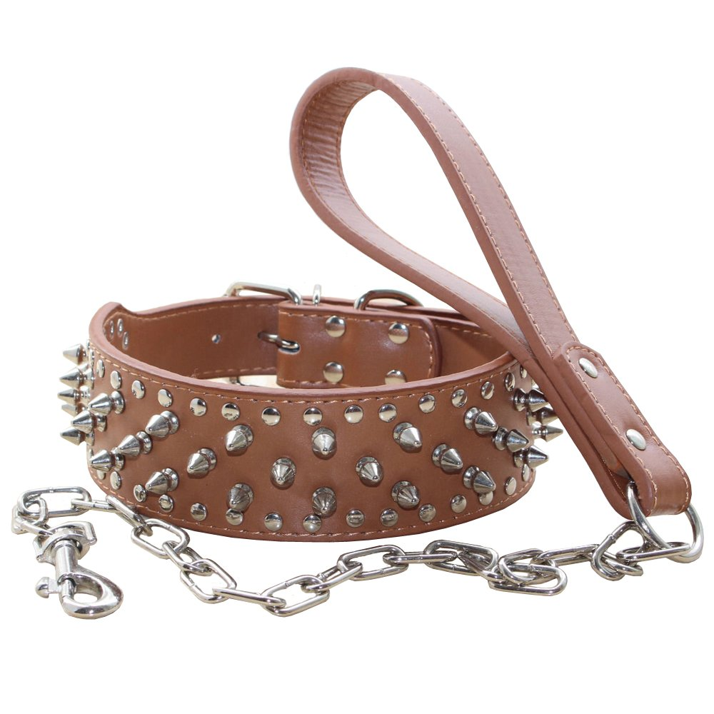 Benala Leather Spiked Studded Pet Dog Collar & Chain Leash Military Set Of Matching for Small Medium Large Breeds (Brown,L)