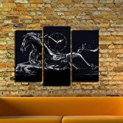 LaModaHome Canvas Real Running Clock, Noble Horse Running, Like Water - Wooden Thick Frame Painting, Ready to Hang, Size (26 x 18) - Wall Art Hanging for Living Room, Bedroom, Dorm, Children's Room