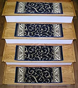 "152542 - Rug Depot Premium Carpet Stair Treads - Set of 13 Stair Treads 26"" x 9"" - Navy Background - Radici Como 1599 Navy - 100% Olefin Stair Runner Treads - Scroll Pattern"