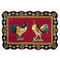 C&F Home French Country Rooster Hooked Rug, 2 x 3, Black