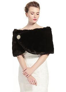 ecb39dd79ce Sarahbridal Women's Shawl Wrap Faux Fur Scarf Stoles for Wedding ...