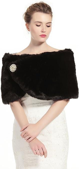 1920/'s Style Black Faux Fur Shawl//Wrap//Stole//Bolero//Wrap//Shrug Satin Lined New
