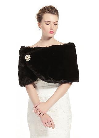 a12dd6248d Faux Fur Wrap Shawl Women's Shrug Bridal Stole for Winter Wedding Party  Free Brooch Black