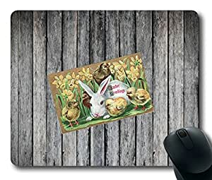 Easter Bunny And Chick On Wood Oblong Mouse Pad by Cases & Mousepads